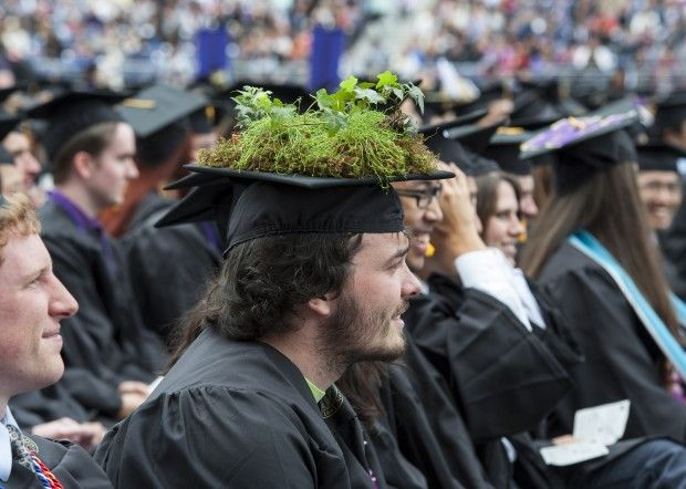 "If your children are your second chance, then their children are your third. One of my ""thirds"" graduated Saturday from the UW in ""dirt"" wearing the hat I made for him. Six growing plants on that wonderful head. Proud."
