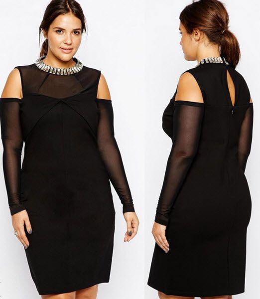 rochie de seara XXL confectionata din doua materiale, maneci din voal, dreapta, sub genunchi, de culoare neagra #rochiidesearaXXL http://thankyou.ws/rochii-de-seara-marimi-mari-xxl/