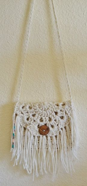Crochet Boho Fringe Purse Beaded Rebecca K by RebeccaKCrochet