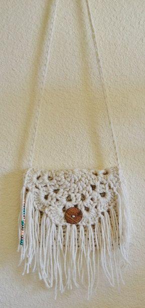 Crochet Boho Fringe Purse Beaded Rebecca K by RebeccaKCrochet