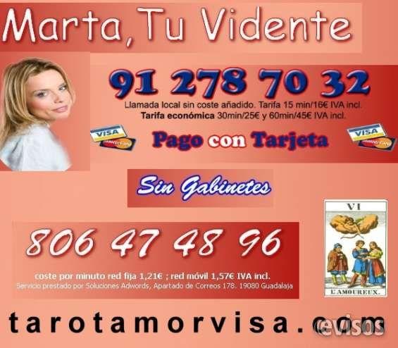 Vidente Marta 912787032  Consulta tarot Completa Visa 30 min. 25 ?  Hola, mi nombre es Marta, soy VIDENTE llego a tí a través  ..  http://zaragoza-city.evisos.es/vidente-marta-912787032-consulta-tarot-completa-visa-30-min-25-id-687751