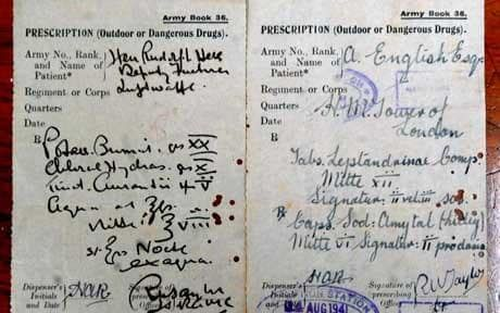 A perscription for Hitlers deputy Rudolph Hess from when he was imprisoned in the Tower of London from May 17-20 1941