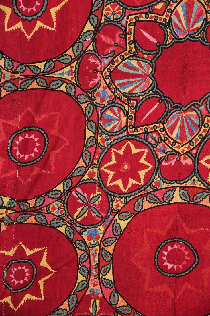 uzbek Suzani detail, silk embroidered panel, traditional textiles, Tashkent region, Uzbekistan.. circa 1880.