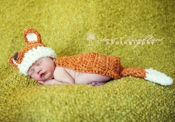 Newborn Fox Hat and Cape Set, Handmade Newborn Photography Prop or Halloween Costume