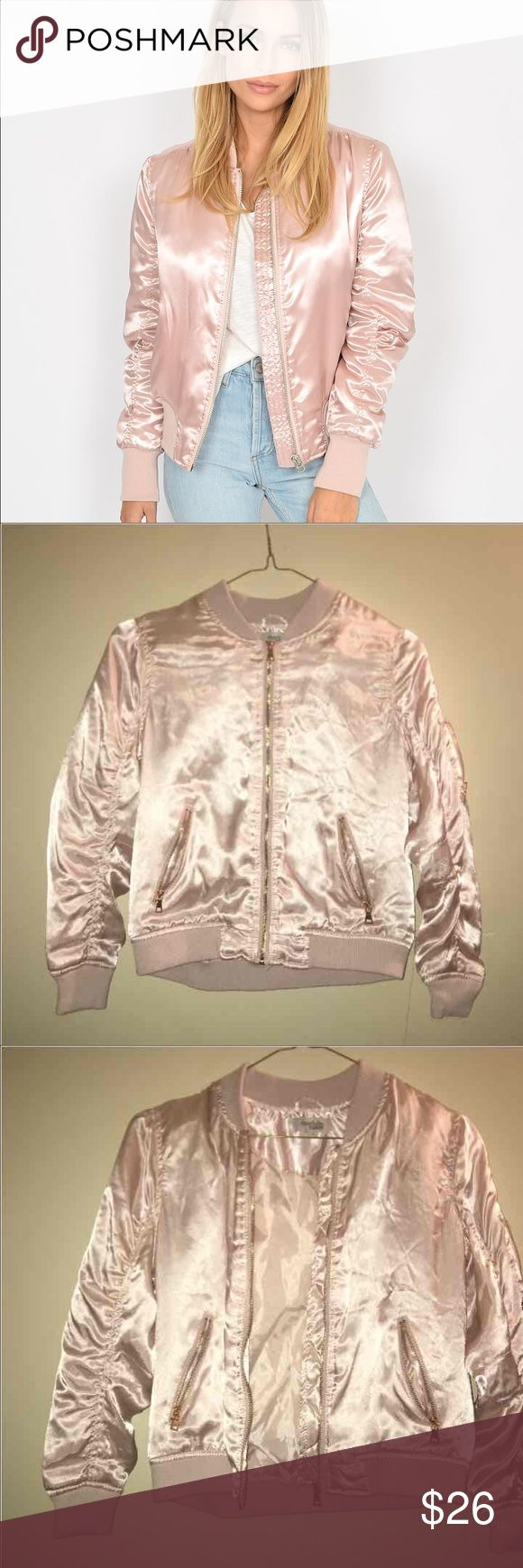 Light pink satin Bomber jacket FAST SHIPPING ⚡️⚡️ Stylish and popular bomber jacket  Goes with everything, perfect condition No flaws!  *first photo used for reference Charlotte Russe Jackets & Coats
