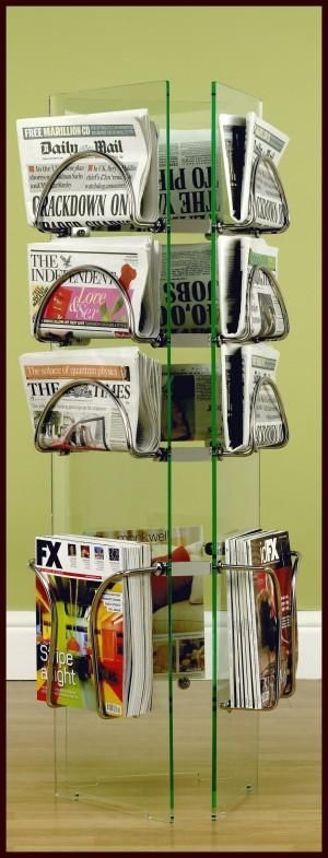 AC280 Nine Stage Newspaper Holder & Three Stage Magazine Holder Free Standing Triangular Tower