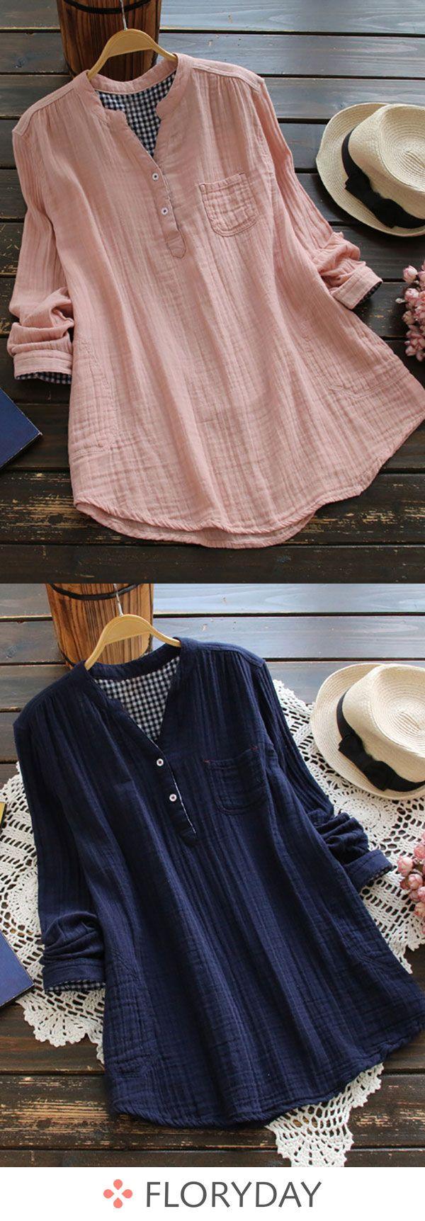 Solid Elegant Cotton Round Neckline Long Sleeve Blouses Item Code: #1145263 US$ 43.99