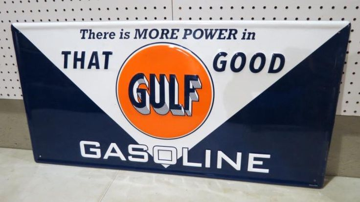 NEW OLD STOCK EMBOSSED GULF GASOLINE METAL ADV SIG
