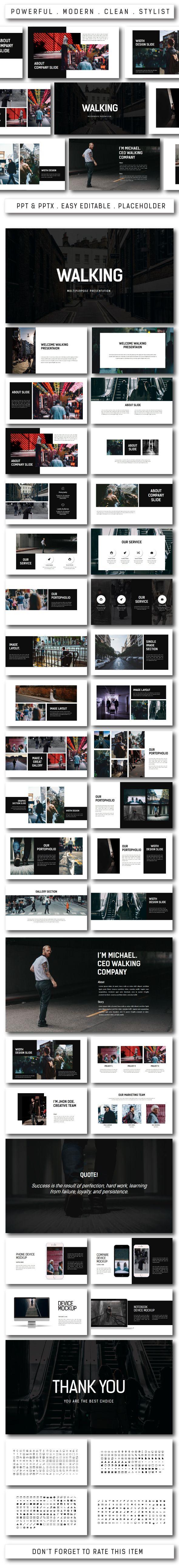Walking Multipurpose #Powerpoint - PowerPoint Templates Presentation Templates
