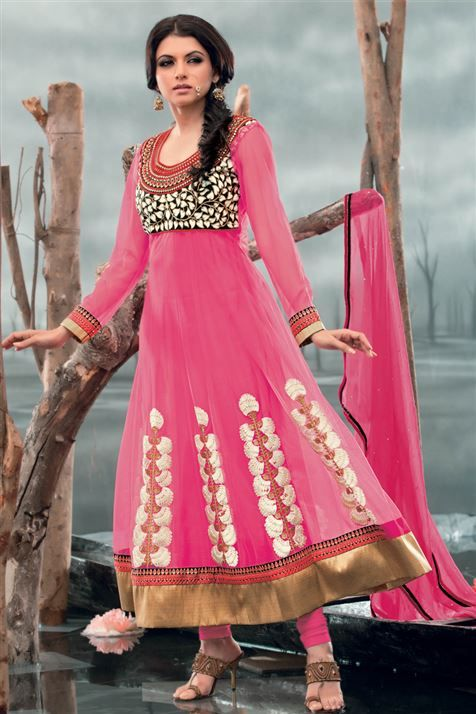 Ravishing Bhagyashree Deep Pink Net Heavy Zari work Knee Length Suit