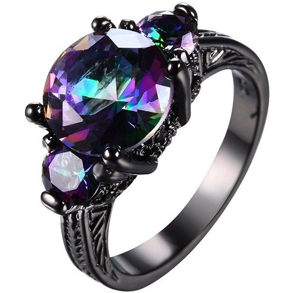 Amazon.com: Junxin Jewelry 2016 New Mysterious Rainbow Topaz Ring,... (32 BRL) ❤ liked on Polyvore featuring jewelry, rings, gold topaz ring, wedding band rings, gold jewellery, topaz rings and topaz jewelry