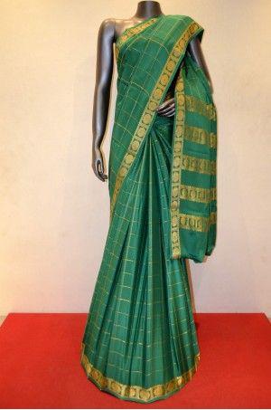 Pure Mysore Crepe Silk Saree With Ethnic Zari Checks        Product Code: AC205073
