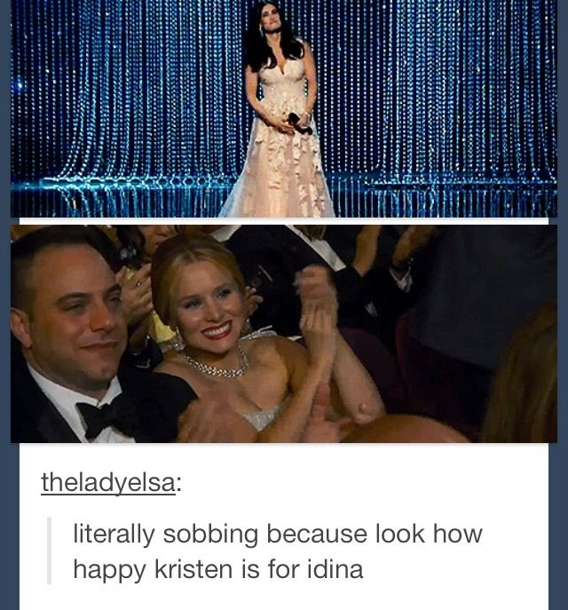 The way Kristen looks at Idina is very SIMILAR to the way Anna would look at Elsa in front of the stage....