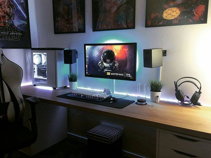 Pin By Michael Gj On Computer Desk Room Setup Gaming Room Setup Desk Setup