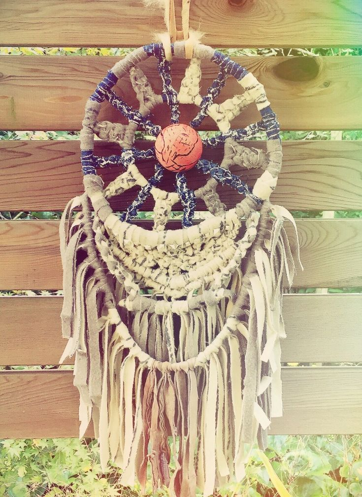 Upcycle Macrame Dreamcatcher.(Denim,Wool skirt,Wood ball,Driftwood,Leather)
