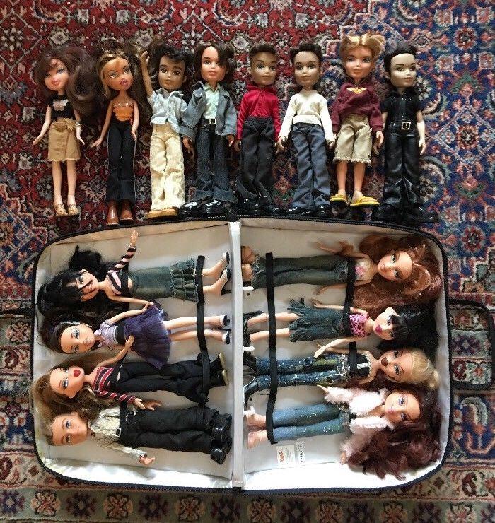 Bratz Case & Lot Of 16 Bratz Dolls 8 Boys 9 Girls 2001-2003 TM MGA Boyz Girlz  | eBay