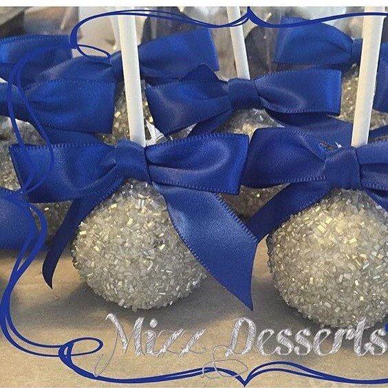 Glamorous Sliver and Royal Blue Cake Pops