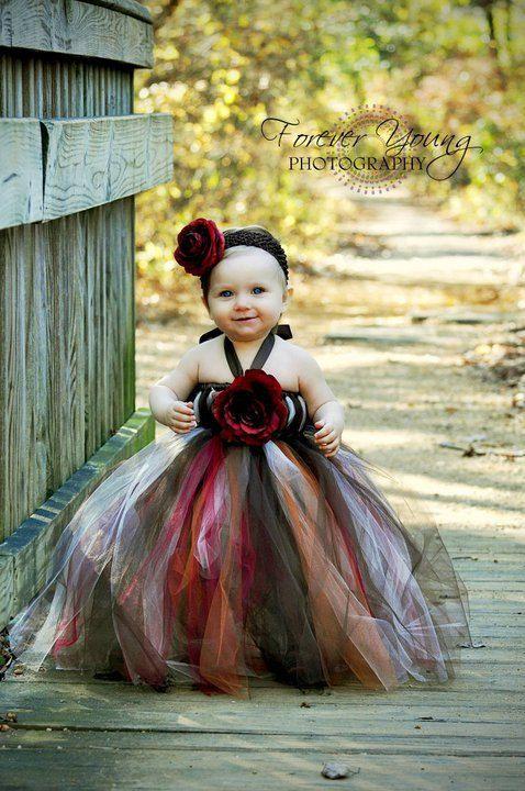Autumn Flower Girl Dress, Flower Girl Dress, Tutu Dress. $65.00, via Etsy.