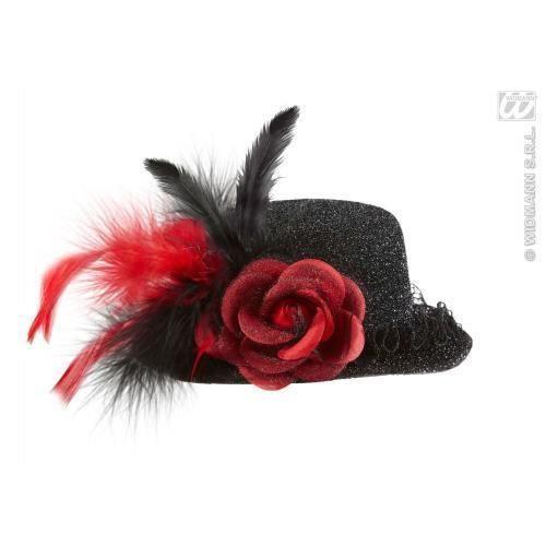 Black Lurex Mini Top Hat With Red Rose Halloween Fancy Dress in Clothes, Shoes & Accessories, Fancy Dress & Period Costume, Accessories | eBay!