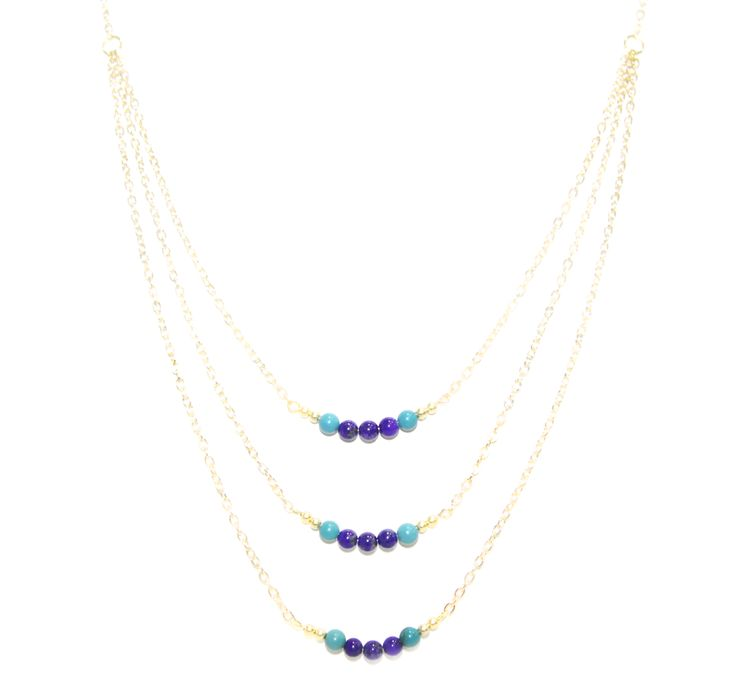 ValentinaNecklace - Turquoise & LapisLazuli -  The ultimate statement piece in our debut collection, our Valentina necklace is your instant route to sure-fire sophistication and glamour. Add to an open neckline or cocktail dress, shimmer through your evening and bask in its alluring power.  Made using our sparkling 14 carat gold-plated fine chain and accentuated with turquoise and lapis-lazuli elements. Finished with a lobster clasp fastening, an extension chain and a HOLLYGALORE charm…