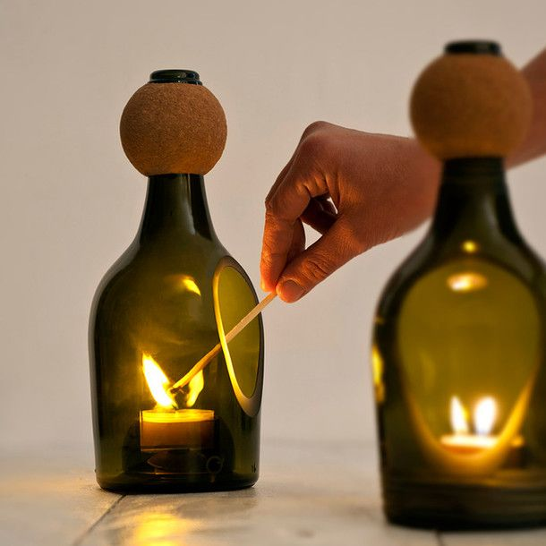 Tea Light Display GreenLights, Decor Ideas, Candles Holders, Candles Jars, Home Interiors Design, Wine Bottle, Recycle Glasses, Recycle Bottle, Candles Lanterns