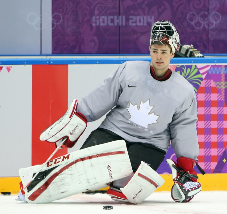 Carey Price of the Canadian hockey team practices at the Bolshoy Ice Dome during the Sochi 2014 Olympic Games, February 11, 2014.