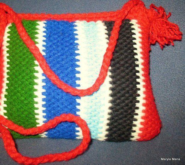 torebka dla dziewczynki - szydełko ścieg tunezyjski // handbag for girls - crochet, Tunisian stitch