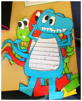 """From the blog """"Good Morning Mrs. Rubie"""" dinosaur theme.  Use non fiction books about dinosaurs then students can use a """"I remember"""" approach to recall 3 facts about dinosaurs then write one on the cut out. String them all up onto a line and hang in your classroom."""