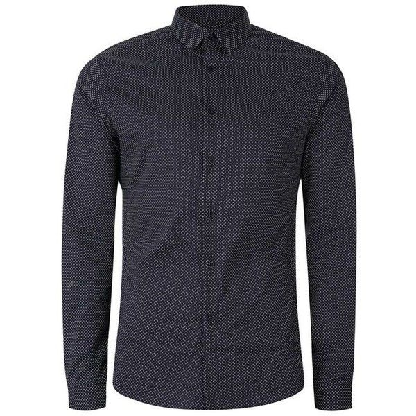 Navy Pindot Stretch Skinny Fit Dress Shirt - Men's Collared Shirts -... (79 AUD) ❤ liked on Polyvore featuring men's fashion, men's clothing, men's shirts, men's dress shirts, mens dress shirts, mens collared shirts, mens navy blue shirt, mens pinpoint oxford dress shirts and mens stretch dress shirt