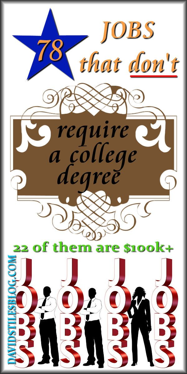 78 JOBS THAT DO NOT REQUIRE A 4 YEAR DEGREE - WITH 22 $100K+ JOBS. From: DavidStilesBlog.com