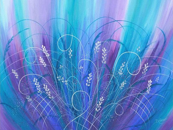 Abstract floral art, Purple blue turquoise magenta, Contemporary wall art for bedroom, bathroom, lau