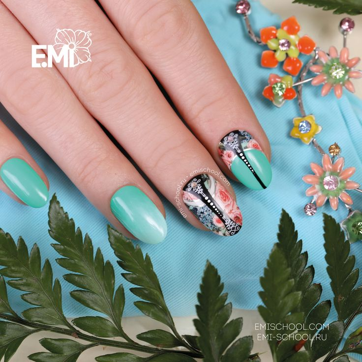 A juicy shade of green E.MiLac Peacock #090 from the collection Tropical Garden is great for matching the Naildress Slider Design English Roses  Finish the décor with EMPASTA Black Tar and Charmicon Stickers Lunula Mix #5 — and the fashionable E.Mi-Manicure is ready!  All the types of Naildress are available to see and order by following this link http://emischool.com/catalog/#naildress_  Сочный оттенок зеленого E.MiLac 090 «Павлин» из коллекции «Тропический сад» прекрасно сочетается вместе
