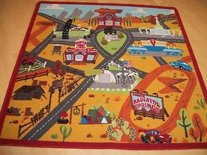 Charming Disney Cars 2 Lightning McQueen Radiator Springs Town Play Mat Area Rug  Square | EBay