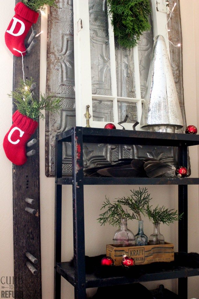 This industrial chic Christmas is so cleaver.  I love all of the different textures!