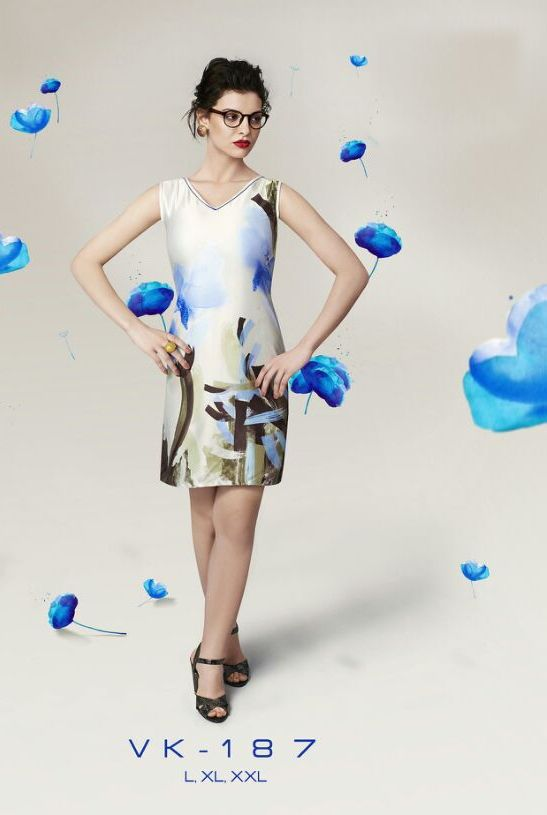Off White and Blue Georgette Printed Designer Kurti