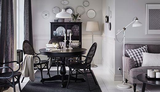 INGATORP / ÄLMSTA Tisch und 4 Stühle, schwarz, Rattan