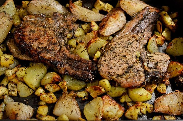 Pork Chops With Sweet Potatoes & Pears