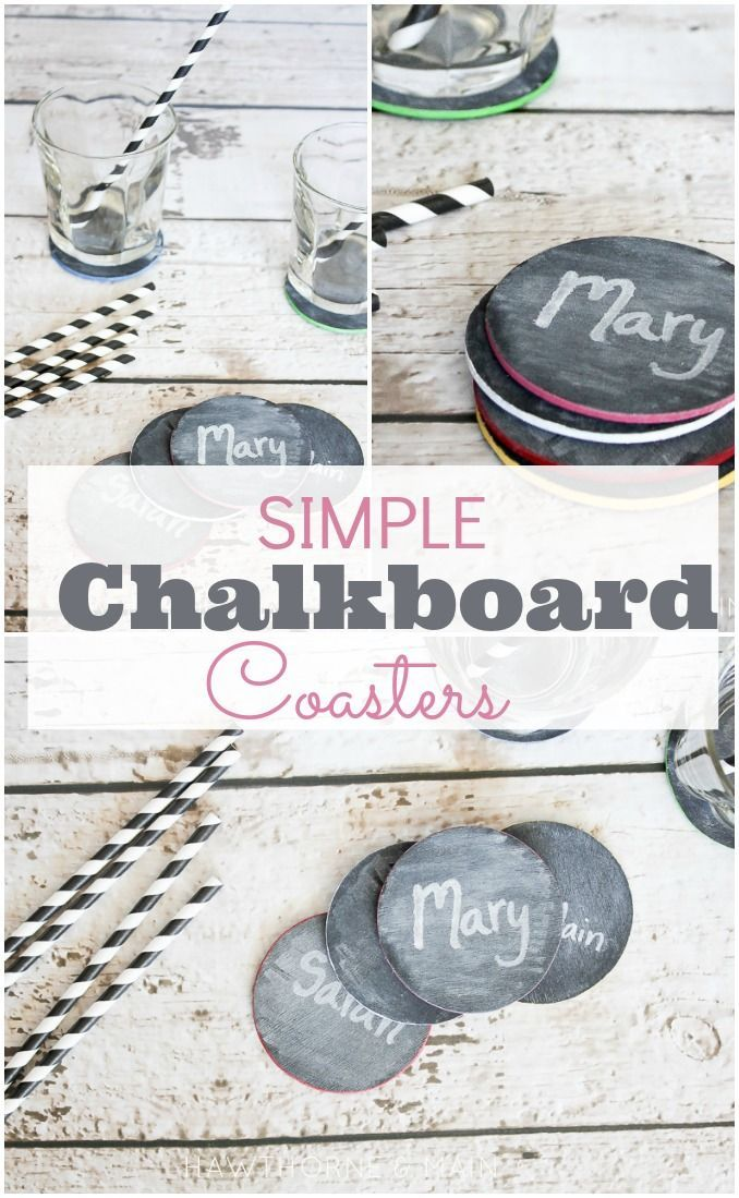 These diy chalk board coasters are the perfect addition to your next party! Super easy to make and everyone will know who's drink is who's!!