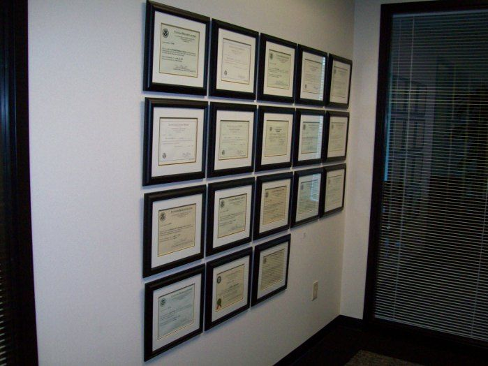 We Framed And Installed These License Certificates For A Business Client In Atlanta