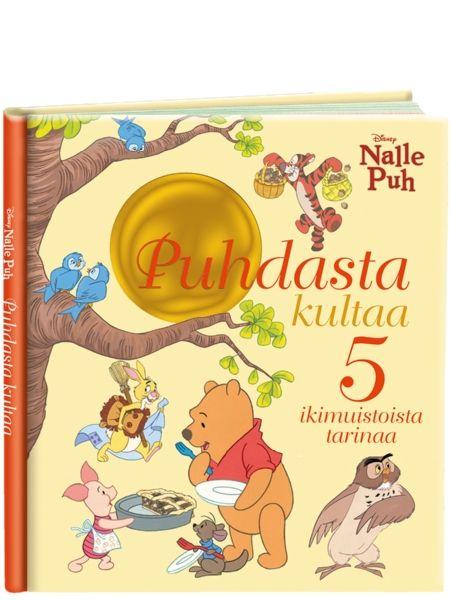 Nalle Puh, Puhdasta kultaa -kirjassa on kaunis nostalginen kuvitus ja viisi opettavaista tarinaa.