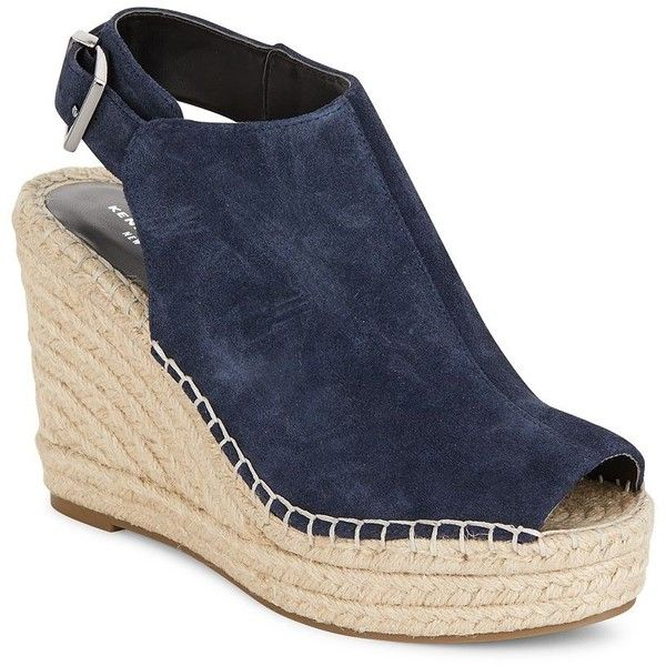 Kenneth Cole Odette Suede Espadrille Wedge Sandals ($50) ❤ liked on Polyvore featuring shoes, sandals, navy, suede wedge sandals, strappy platform sandals, open toe sandals, navy blue wedge sandals and platform espadrilles