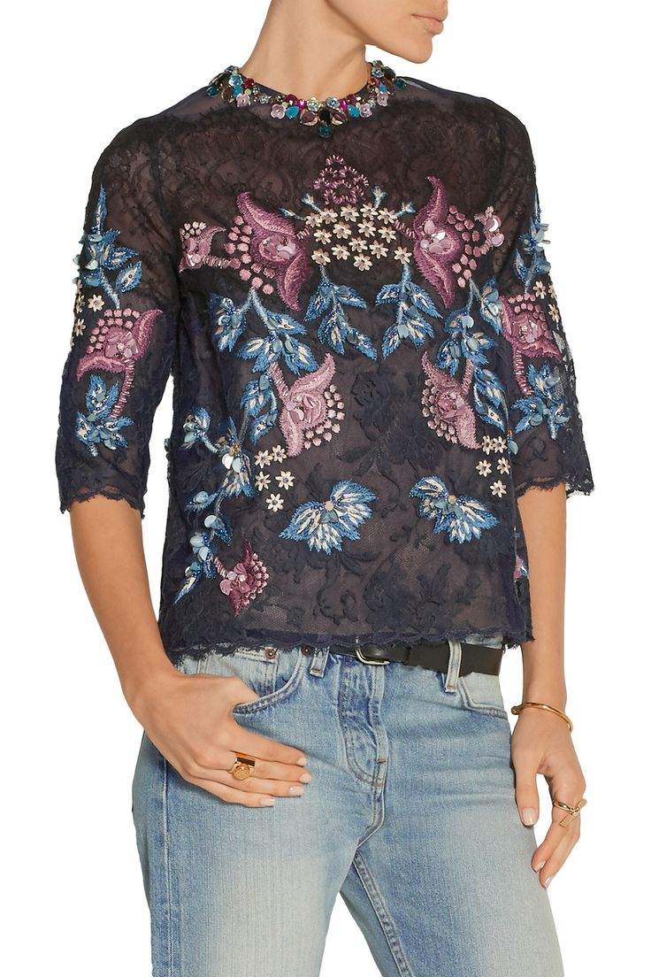 BiyanJuliette embroidered embellished lace top