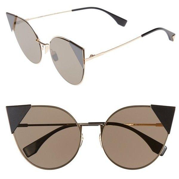 Women's Fendi 57Mm Lei Cat Eye Sunglasses ($525) ❤ liked on Polyvore featuring accessories, eyewear, sunglasses, palladium, cateye sunglasses, fendi, fendi glasses, metal sunglasses and cat-eye glasses