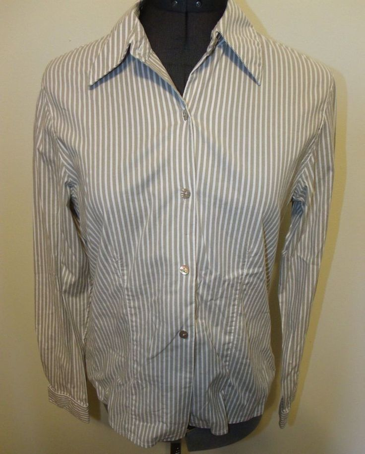 Jones New York Country Size 6 Gray Striped Long Sleeve Button Down Blouse EUC #JonesNewYork #ButtonDownShirt #Career