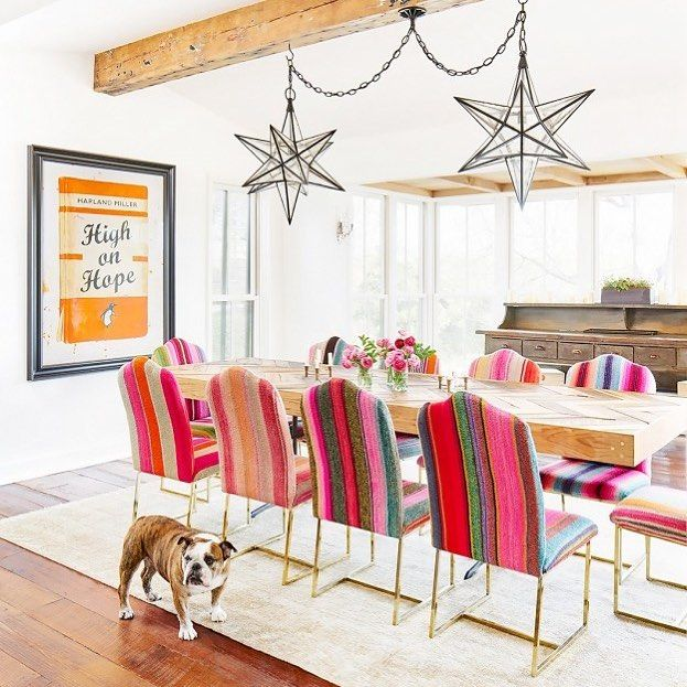 Wow! I think we should all stop for a moment and appreciate this insane dining setting.  This is the best upholstery job we have seen using frazadas. So much fun! Love the pup too.  @mydomaine features Brooklyn Deckers amazing home.  #love #frazadas #homewares #upholstery #upholstered #unique #interiordesign #interiorstyling #wholesaletextiles #textiles #luxury #interiorinspo #elhummingbird #frazada
