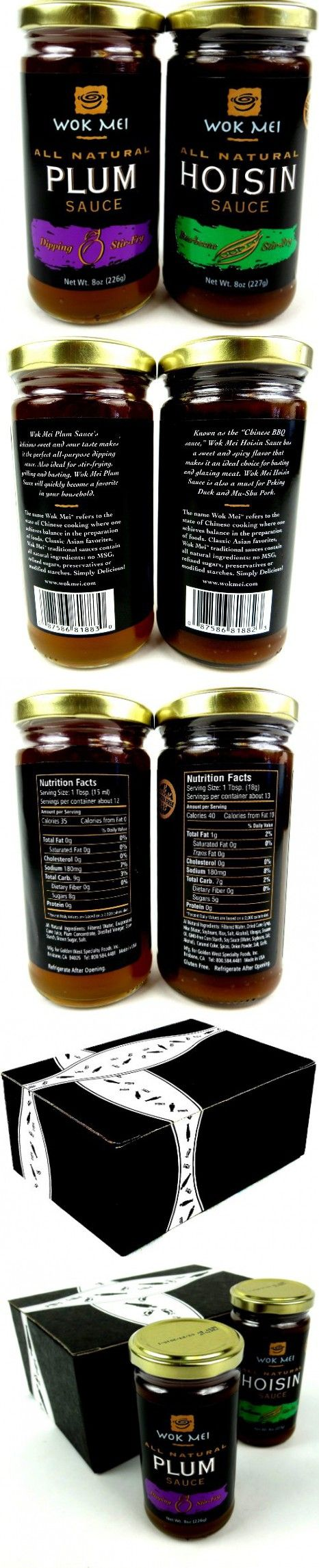 Wok Mei Gluten Free Sauces 2-Flavor Variety: One 8 oz Jar Each of Hoisin and Plum in a BlackTie Box (2 Items Total)