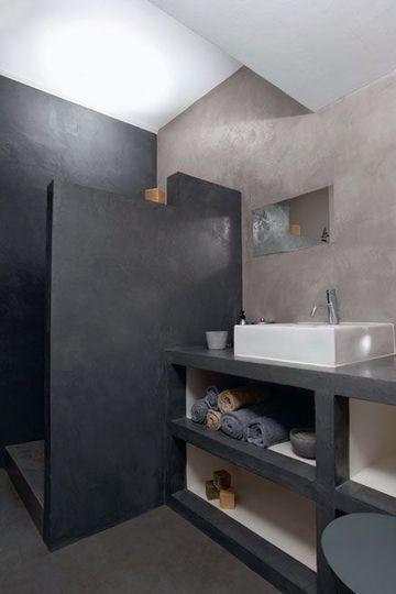 Du béton ciré pour une salle de bains harmonieuse - Le béton ciré donne du cachet à la salle de bains - CôtéMaison.fr