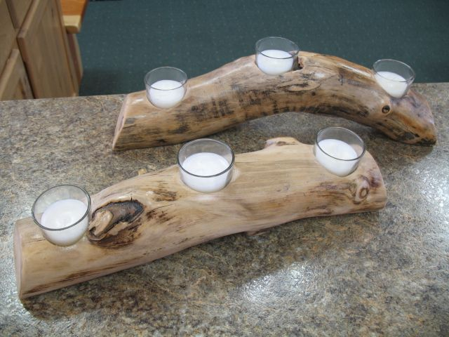 Candle Logs from Sisters Log Furniture and Home Decor
