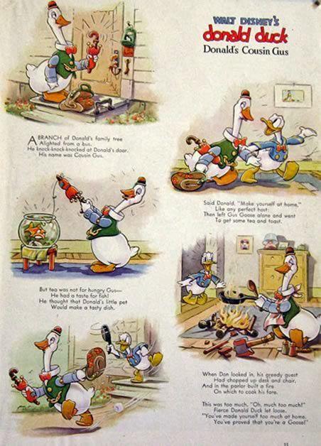 1938 Disney's Donald Duck Cartoon Page ~ Cousin Gus