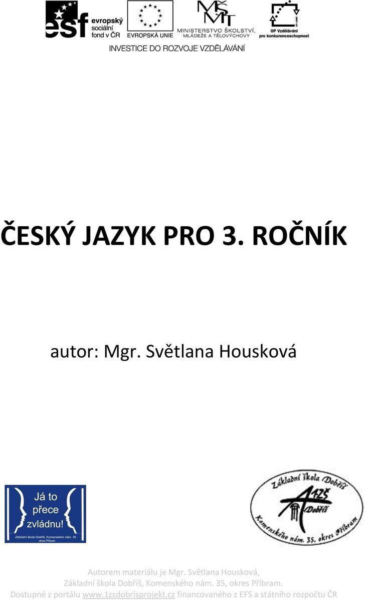 ČESKÝ JAZYK PRO 3. ROČNÍK - PDF